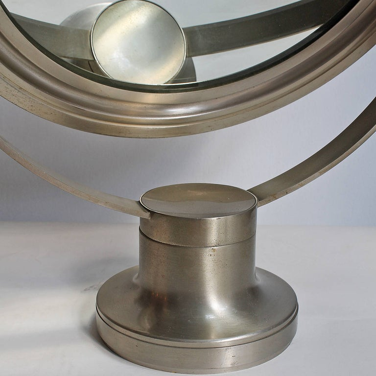 1960s Pivoting Vanity-Table Mirror by Sergio Mazza, Nickel-Plated Frame, Italy For Sale 1