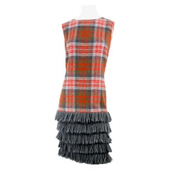 1960s Plaid Wool and Fringe Shift Dress
