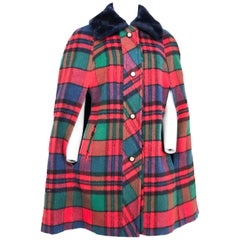 1960s Plaid Wool Cape with Navy Faux Fur Collar