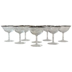 1960s Platinum Banded Glass Coupe Stems, Set of 8