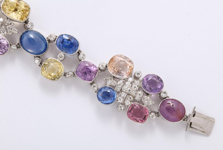 Cushion Cut 1960s Platinum Diamond Multicolored Cabochan 12 Carat Star Sapphire Bracelet For Sale