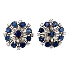 1960s Platinum Sapphire and Diamond Clip Earrings