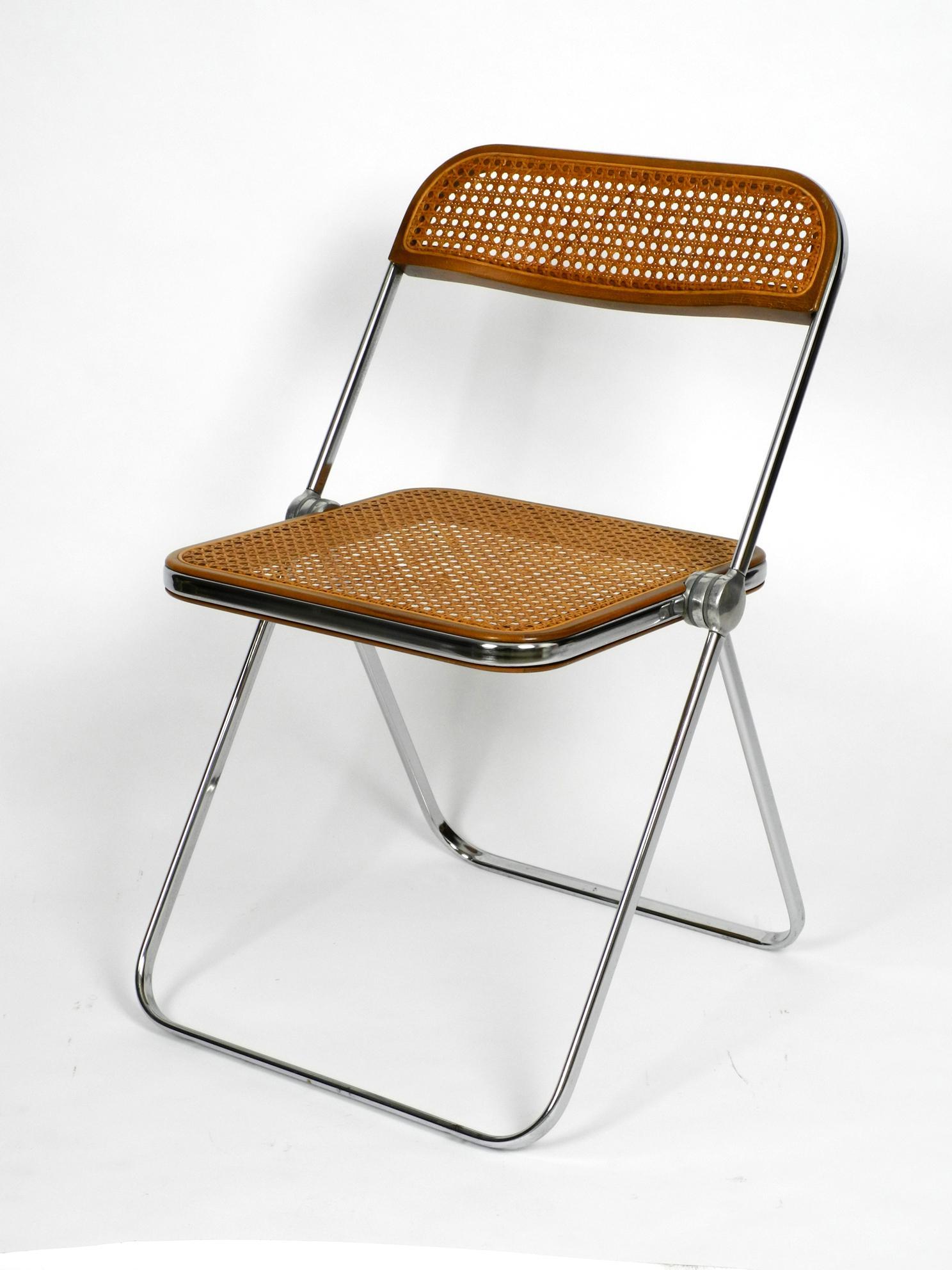 1960s Plia Folding Chair With Woven Wicker Giancarlo Piretti For Castelli 1967