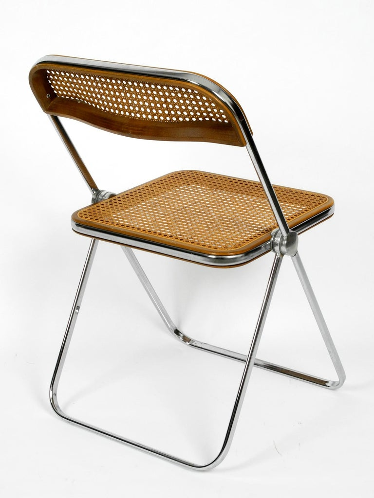 1960s Plia Folding Chair With Woven Wicker Giancarlo