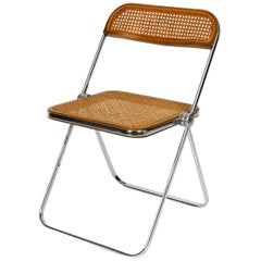1960s Plia Folding Chair with Woven Wicker Giancarlo Piretti for Castelli, 1967