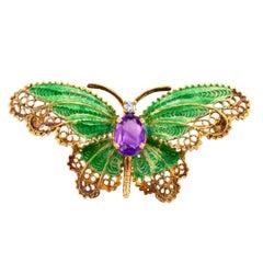 1960s Plique a Jour Butterfly Enamel Amethyst Diamond Gold Brooch
