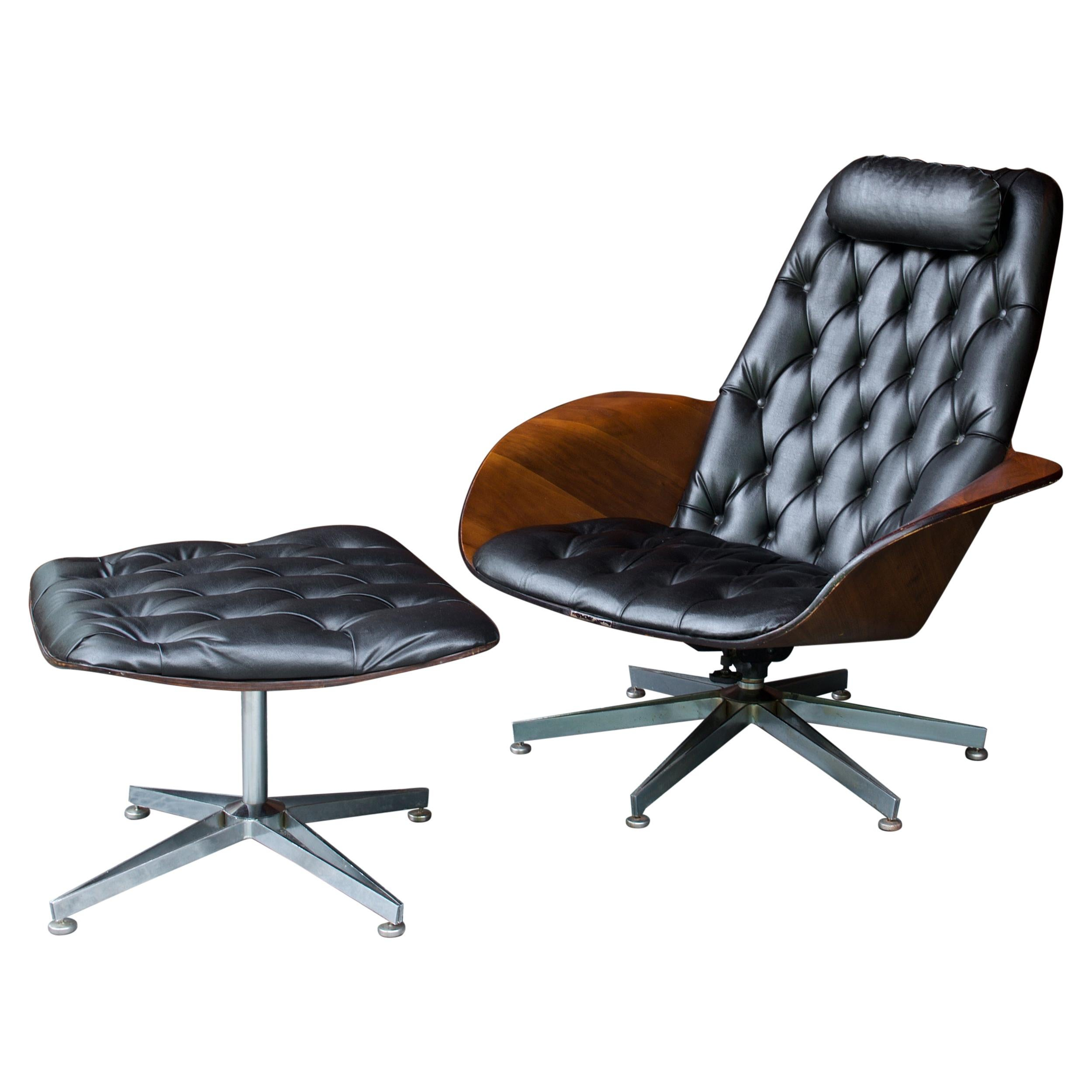 1960s Plycraft Mr.Chair Lounge Chair Ottoman Vintage Mid-Century Icon Mulhauser