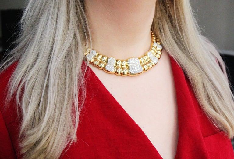 Brilliant Cut Vintage Poiray Paris Diamond 18 Karat Gold Collar Choker Necklace For Sale