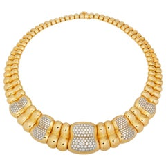 1960s Poiray Paris Diamond 18 Karat Gold Collar Choker Necklace