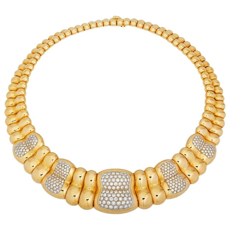 Vintage Poiray Paris Diamond 18 Karat Gold Collar Choker Necklace For Sale