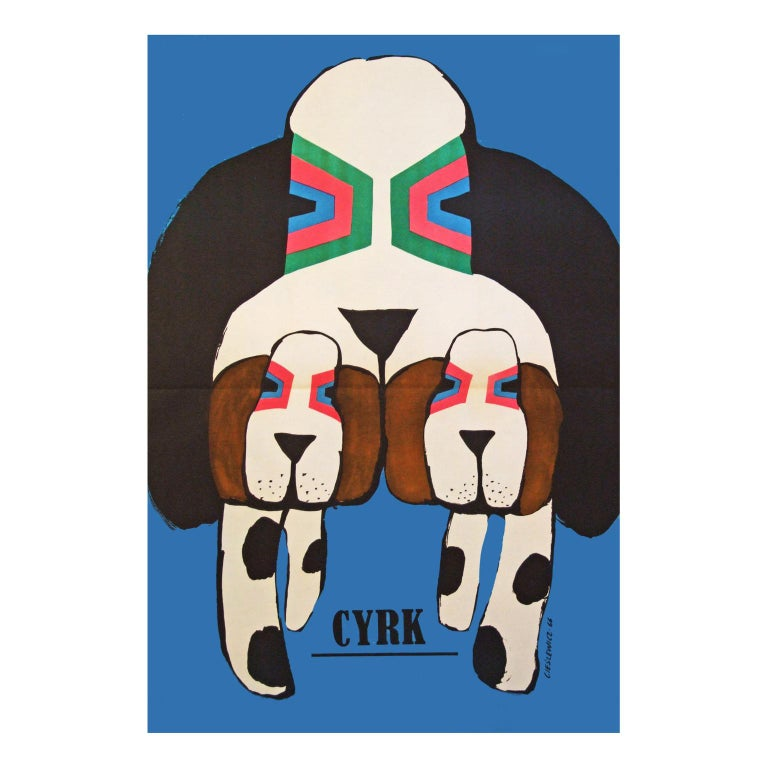 Mid-Century Modern 1960s Polish Cyrk Circus Dog Poster Pop Art Illustration For Sale