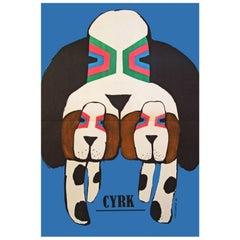 1960s Polish Cyrk Circus Dog Poster Pop Art Illustration