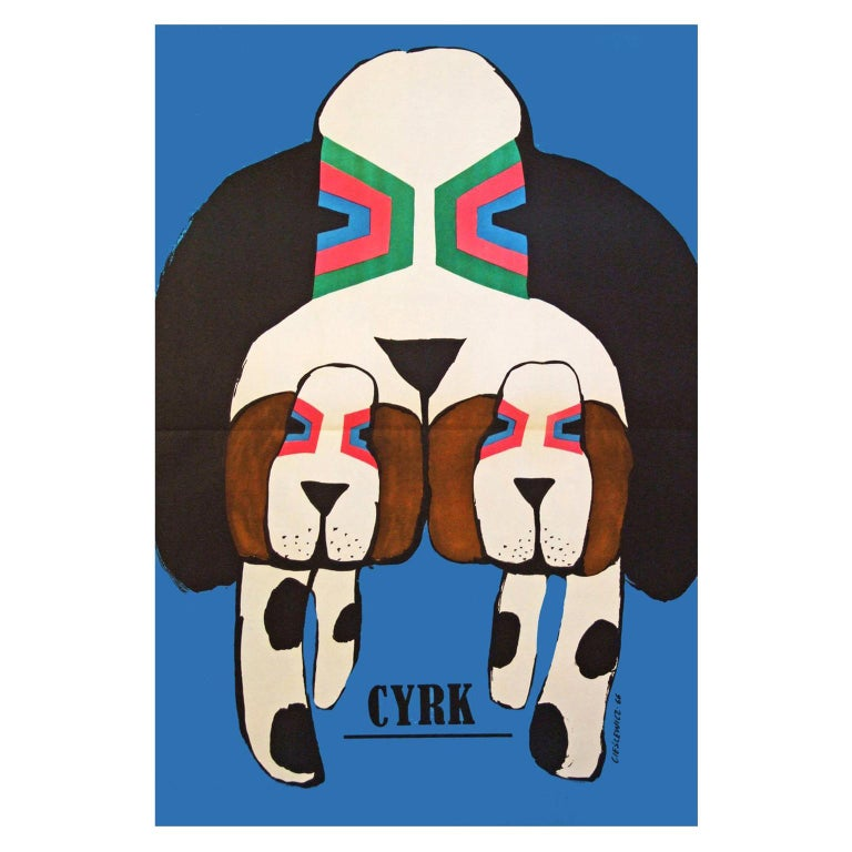 1960s Polish Cyrk Circus Dog Poster Pop Art Illustration For Sale
