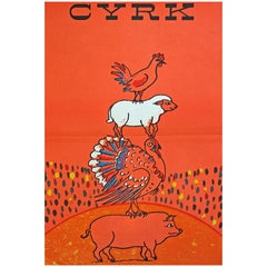 1960s Polish Cyrk Circus Orange Farm Animal Poster