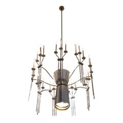 1960s Polished Aluminum with Brass Accent 27 Light Mid-Century Modern Chandelier