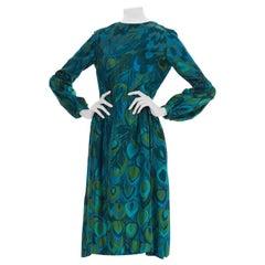 1960S Poly Novelty Peacock Print Long Sleeve Silk Midi  Dress