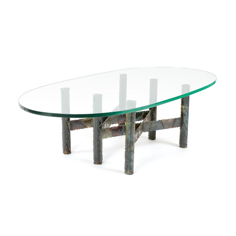Mid-Century Modern 1960s Polychromed Steel Coffee or Cocktail Table by Paul Evans For Sale