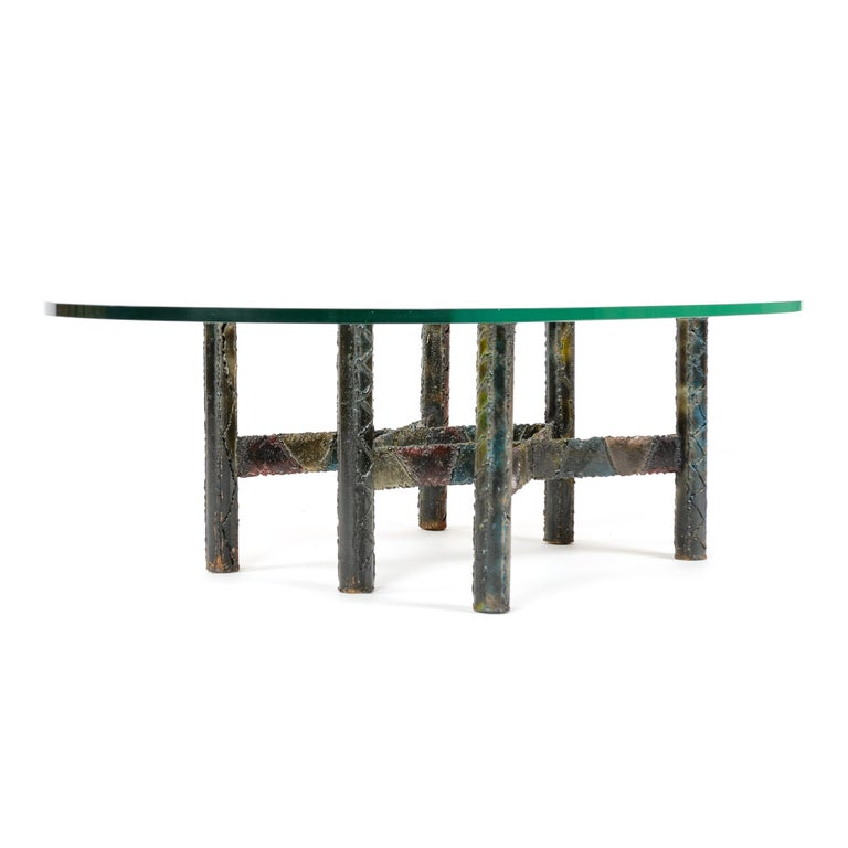American 1960s Polychromed Steel Coffee or Cocktail Table by Paul Evans For Sale