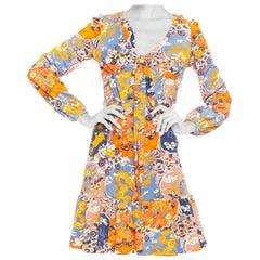 1960S Blue & Orange Nylon Jersey Chinese Dragon Print Long Sleeve Mini Dress