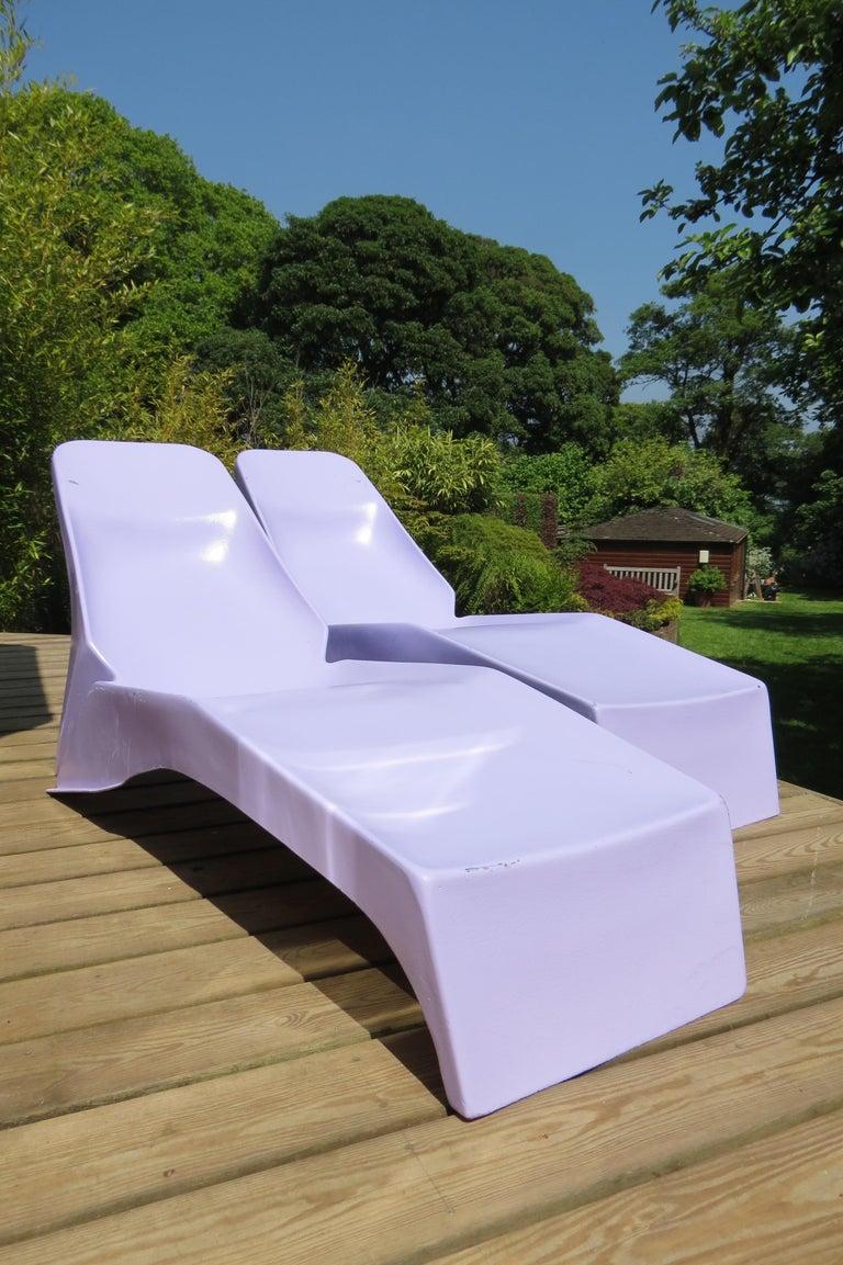 1960s Pop Art Purple Fibreglass Sun Loungers For Sale 1