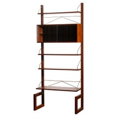 1960s, Poul Cadovius Teak with Brass Detail Book Case with Vitrine by Cado