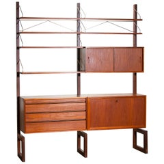 1960s, Poul Cadovius Teak with Golden Supports Dry Bar or Book Case by Cado