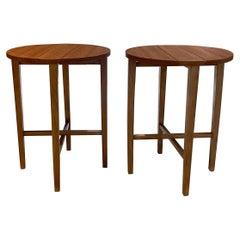 1960s Poul Hundevad Practical Teak Folding Round Side Tables Scandinavian Modern