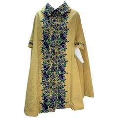 1960s Profils Du Monde Citrine Wool Swing Coat W/ Crewel Floral Embroidery Front