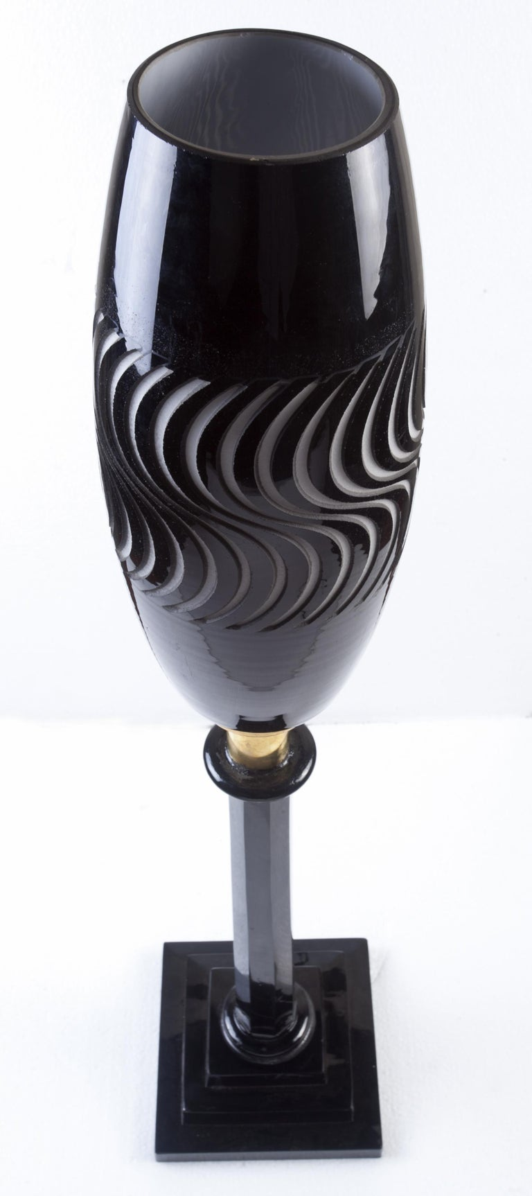20th Century 1960s Psychedelic Mid Century Modern Space Age Glass Torchiere Table Lamp For Sale