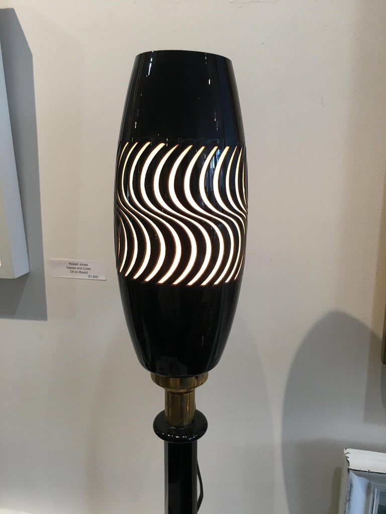 European 1960s Psychedelic Mid Century Modern Space Age Glass Torchiere Table Lamp For Sale