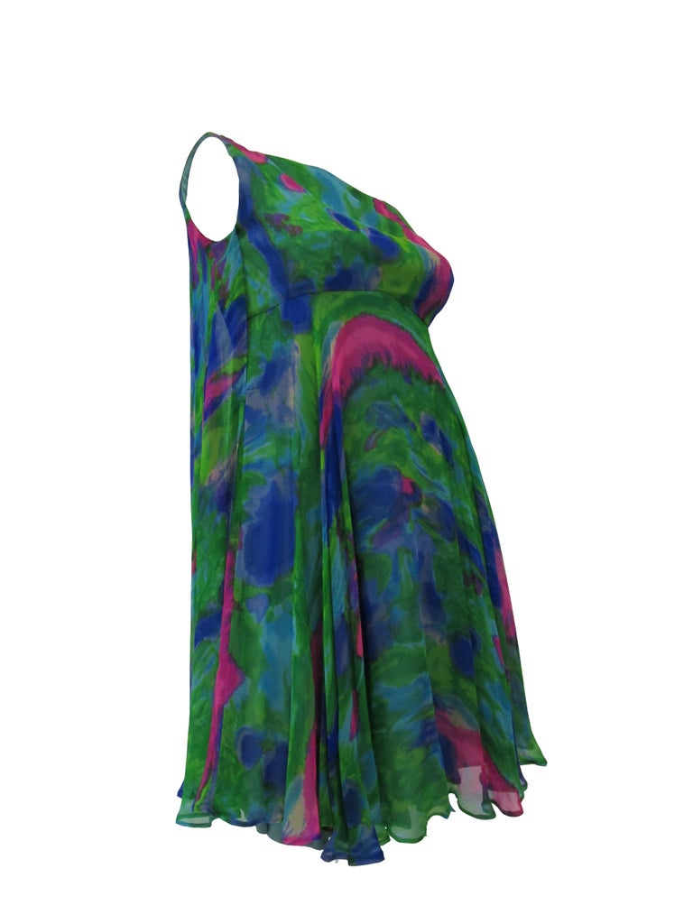 1960s Psychedelic Jerry Silverman Silk Low Back Mini Dress with Organza Overlay In Excellent Condition For Sale In Houston, TX