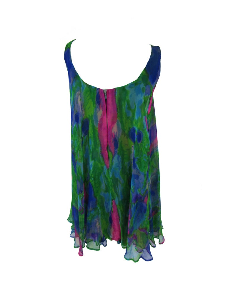 Women's 1960s Psychedelic Jerry Silverman Silk Low Back Mini Dress with Organza Overlay For Sale