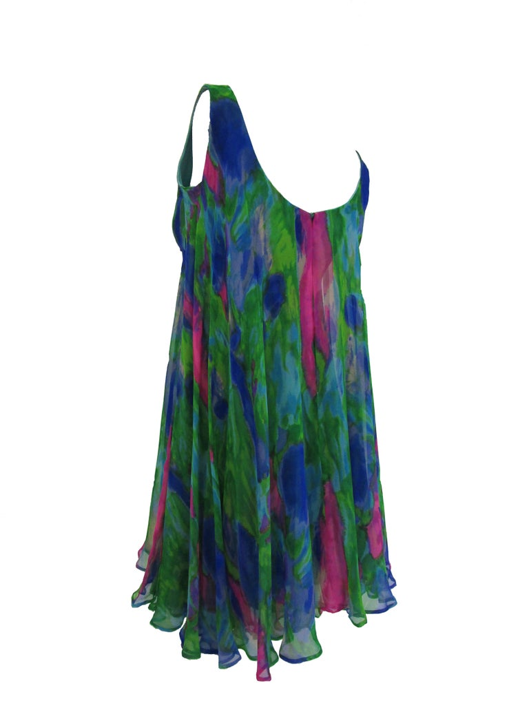 1960s Psychedelic Jerry Silverman Silk Low Back Mini Dress with Organza Overlay For Sale 1
