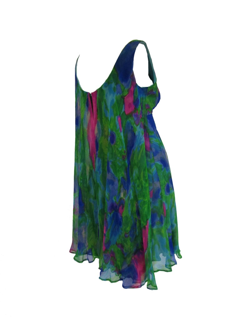1960s Psychedelic Jerry Silverman Silk Low Back Mini Dress with Organza Overlay For Sale 2