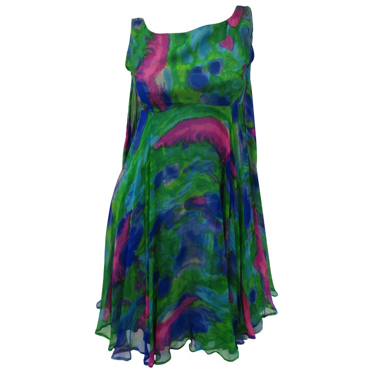 1960s Psychedelic Jerry Silverman Silk Low Back Mini Dress with Organza Overlay For Sale