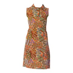 1960S Psychedelic Poly Blend Jersey Dress