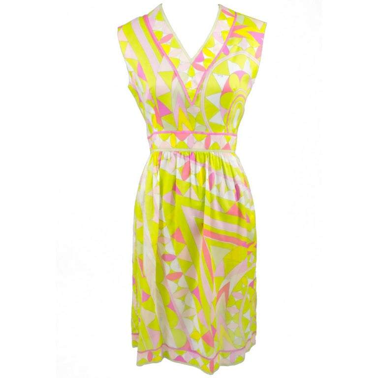 Emilio Pucci Dress in Pink Yellow and Green Lightweight Signature Fabric, 1960s  For Sale