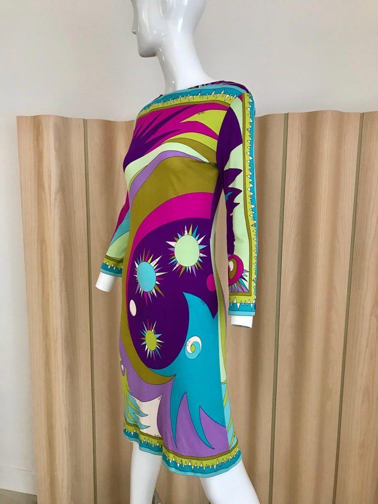 1960s Pucci Multi Color Psychedelic Silk Jersey Cocktail Dress In Good Condition For Sale In Beverly Hills, CA