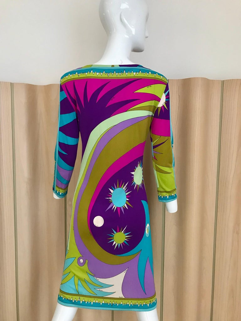 Women's 1960s Pucci Multi Color Psychedelic Silk Jersey Cocktail Dress For Sale