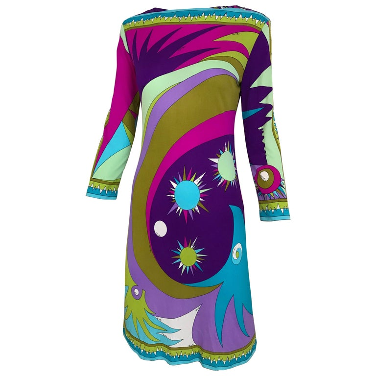 1960s Pucci Multi Color Psychedelic Silk Jersey Cocktail Dress For Sale