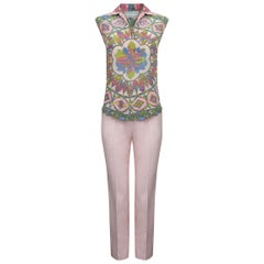 1960s Pucci Silk Pale Pink Trouser Set With Vibrant Rosette Print