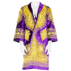 1960S Purple Gold Polyester Velvet  Embroidery RobeCoatDusterJacket