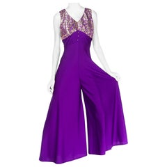 1960S Purple Polyester Jersey Palazzo Pant Jumpsuit With Silver Lurex Bodice