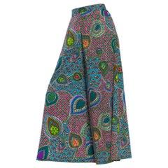 1960S Pyschedelic Floral Cotton Barkcloth Wide Leg Pants