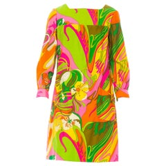 1960'S Pyschedelic Floral Cotton Long Sleeve Mod Dress With Pockets