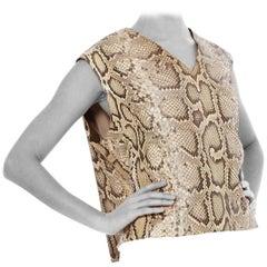 1960S Python Snakeskin Leather Sleeveless Top