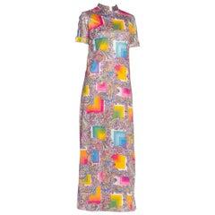 1960S Rainbow Psychedelic Polyester Jersey Short Sleeve Mock Neck Maxi Dress