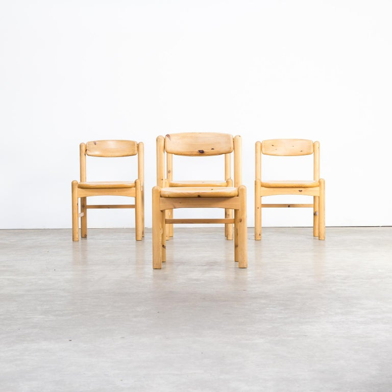 Danish 1960s Rainer Daumiller Pine Wood Dining Chair Set of 4