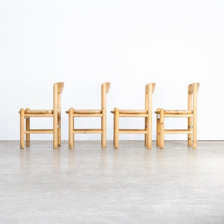 1960s Rainer Daumiller Pine Wood Dining Chair Set of 4 In Good Condition In Amstelveen, Noord