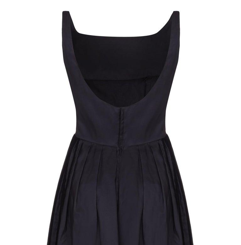 Women's 1960s Rappi Black Silk Taffeta Gown with Velvet Applique  For Sale